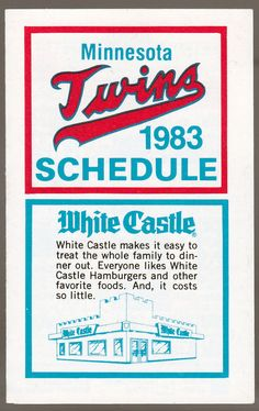 1983 MINNESOTA TWINS WHITE CASTLE BASEBALL POCKET SCHEDULE FREE SHIPPING #PocketSchedules