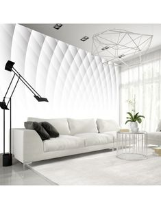 Papier peint – Structure of Light 3d Wallpaper Mural, Fabric Wallpaper, Home Structure, Sofa, Couch, Decoration Design, Art Deco, Living Room, Furniture