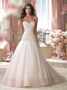 A-Linie Applikation Organza Prinzessin Hochzeitskleid mit Pinsel-Schleppe [#UD8647] - schoenebraut.com