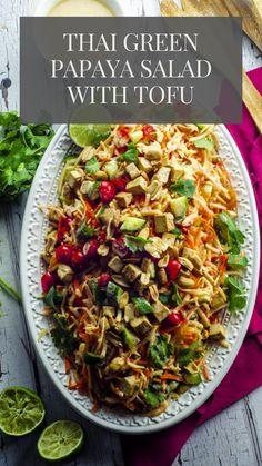 Healthy Veg Recipes, Vegetarian Recipes, Healthy Meals, Thai Green Papaya Salad, Tofu Salad, Kosher Recipes, Plant Based Nutrition, Lunch Snacks, Dinner Recipes