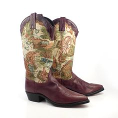 003091e754a Vintage Cowboy Boots 1980s Dan Post Burgundy Tapestry Leather Women s size  7 1 2 M