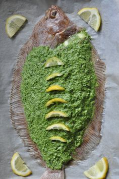 Baked lemon sole with a green parsley dressing