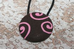 Pink Swirl Button Ponytail Holder by FunkyBsDesigns on Etsy