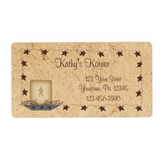 Rusty Stars and Candle Label