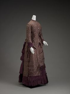Dress, silk trimmed with chenille fringe, c. 1885, American.