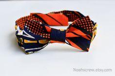 Boy's Bow tie Ankara African Wax print orange black by NoahsCrew, $22.00
