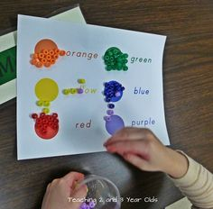 Teaching 2 and 3 Year Olds: color sorting using beads.