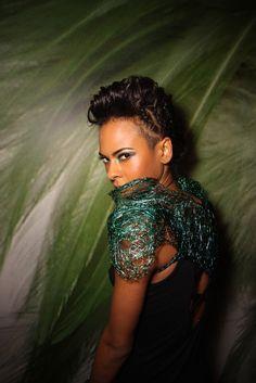 Green wire shoulder pads: avant-garde fashion