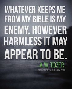 A W Tozer - whatever keeps me away from my Bible is the enemy