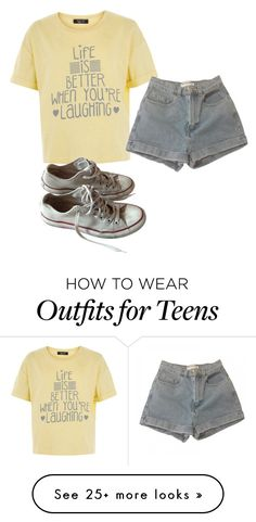 """Life is better when you're laughing"" by mariami-princess2013 on Polyvore featuring New Look, Converse and American Apparel"
