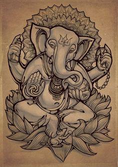 Ganesha by Fans Taknado Ganesha Drawing, Lord Ganesha Paintings, Ganpati Drawing, Ganesha Tattoo Lotus, Lotus Tattoo, Ganesha Tattoo Sleeve, Tattoo Ink, Sleeve Tattoos, Arte Ganesha
