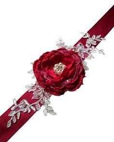 Gorgeous Floral Handmade Flowers Sashes with Vintage Crystal Decoration in Middle for Wedding Dresses Wedding Sash Belt, Crystal Decor, Sash Belts, Handmade Flowers, Middle, Crystals, Amazon, Decoration, Wedding Dresses