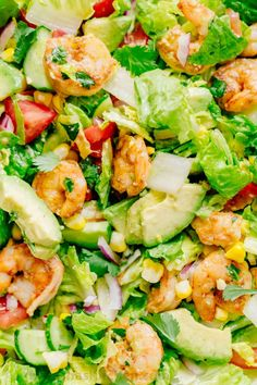 We could live off this shrimp avocado salad. It's crazy good and loaded with avocado, cucumbers, tomatoes, sweet corn and tossed with a light and easy cilantro-lemon dressing. This shrimp salad has all the best flavors of summer! WINNER!! | natashaskitchen.com. == FANTASTIC, YUMMY, WILL EAT THIS ALL SUMMER LONG. :) ===