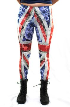 Rock out in these edgy British flag leggings. The pretty floral prints in overlapping the flag make these leggings oh so sweet! Model is wearing a Small. - Measurements taken from a Small and may vary