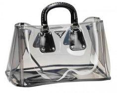 Black prada transparent clear bag
