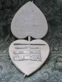 1800s Sterling Silver Complete Bodkin Set in Heart Shaped Covered Case by ALWAYSNEU on Etsy https://www.etsy.com/se-en/listing/274562600/1800s-sterling-silver-complete-bodkin