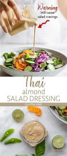 Dairy free - Gluten free - Peanut free - Vegan - Vegetarian - Spicy Thai Almond Salad Dressing / This healthy salad dressing is like peanut sauce with almond butter - a healthy, creamy dressing that will pack flavor into your salads! Healthy Salad Recipes, Asian Recipes, Whole Food Recipes, Healthy Snacks, Vegetarian Recipes, Healthy Eating, Cooking Recipes, Ensalada Thai, Whole Foods