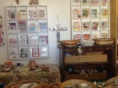 Handmade card shelving in my shop