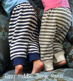 Toddler pants from adult sweater sleeves, for when socks get too small...