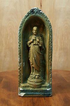 "Vintage SACRED HEART of JESUS 7.5"" CHALKWARE STATUE Figurine in GROTTO #Chalkware #Jesus #Statue #Grotto"