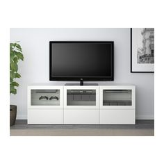 BESTÅ TV unit with doors and drawers - Lappviken/Sindvik white clear glass, drawer runner, push-open - IKEA