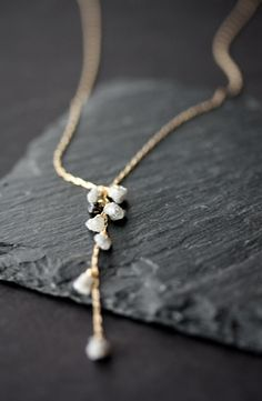 Image of Rough and Black Diamond Cascade Necklace