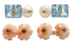 Prince Dimitri Cufflinks - Hand-carved Pink and White Coral with Rubies & Blue Topaz with Fresh Water Pearl and Diamonds.