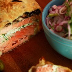 Garlic-Herb Salmon en Croute with Fennel and Cucumber Salad