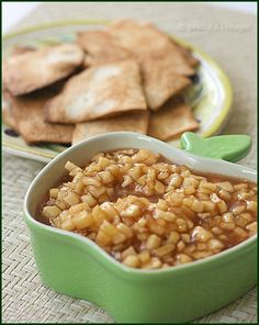 Apple Pie dip with Cinnamon Sugar Tortilla Chips.. easy!  INGREDIENTS:     2 cups peeled, cored, and diced apple.  2 tbsp fresh lemon  juice.  3 tbsp brown sugar.  ¼ tsp cinnamon. 1 tsp cornstarch dissolved in 1 tsp water. FOR THE CHIPS:  5 (6-inch) flour tortillas.  2 tablespoons butter, melted.  1/2 teaspoon cinnamon. 1 1/2 tablespoons sugar.