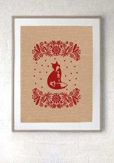 SILK SCREEN ART PRINT/ Red Fox print on recycled kraft paper. Hand silk screen printed Polish folk art inspired design, ready to frame. $15 from Laikonik