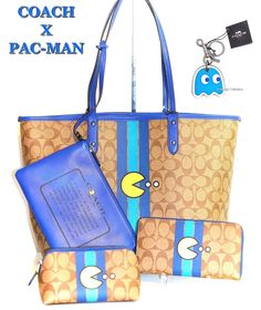 COACH X PACMAN Limited Tote Bag Pouch Cosmetic Case Wallet & Key Chain 5pc Set! 889532667574 | eBay