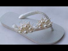 Nova, Flip Flops, Sandals, Crafts, Decorated Flip Flops, Pearl Flower, Flip Flop Decorations, Hand Fan, Kitchen