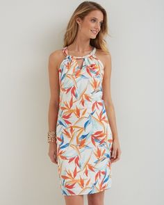 Make every day a vibrant paradise with this dress. Our smooth linen is arrayed with a multicolor pattern of botanical artistry. The ring neckline flatters with front and back keyholes, while ties at the back neck are a flirty touch. Back darts ensure the shape flatters your form. 100% linen. Machine wash cold on gentle cycle; tumble dry on low setting. Can also be dry cleaned. 36in. shoulder to hem (based on size S). Imported. TW612728.