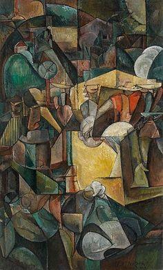 c. 1912 Moissoneurs ou  'Depiquage Des Moissons: by; Albert Gleizes (Paris, 1881- Avignon, 1953] oil on canvas