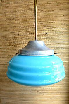 Deckenlampe 40er 50er Vintage Art Deco Bauhaus Blau Glas Leuchten Mid Century