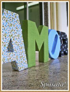Sposata!: Ideias DIY | Letras decorativas de papelão forradas com tecido