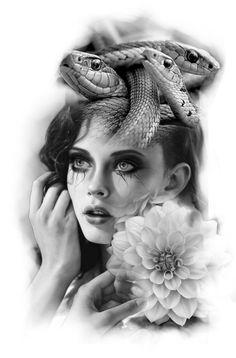 Project tattoo for medusa style Medusa Tattoo Design, Clock Tattoo Design, Girl Face Tattoo, Girl Tattoos, Tattoo Sketches, Tattoo Drawings, Realistic Tattoo Sleeve, Face Tattoos For Women, Female Face Drawing