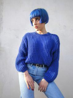 Blue jeans hair @arviluci Blue Bob, Blue Jeans, Hair, Strengthen Hair, Jeans