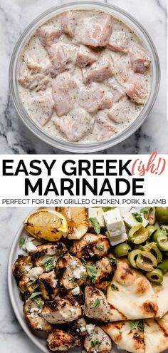 A Greek-inspired grilling marinade perfect for whenever you're grilling up a recipe or meal with a little bit of Mediterranean flare. This Greek-ish grilling marinade has a Greek yogurt base, which keeps whatever you're grilling completely tender & juicy, Grilled Veggies, Grilled Lamb, Grilled Food, Veggies To Grill, Meals With Vegetables, Greek Vegetables, Mediterranean Diet Recipes, Mediterranean Chicken Marinade, Greek Chicken Marinades