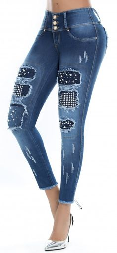 Jeans levanta cola LUJURIA 78843 Lace Jeans, Denim And Lace, Teen Pants, Diy Clothes And Shoes, Best Jeans For Women, Estilo Jeans, Embellished Jeans, Patched Jeans, Recycle Jeans