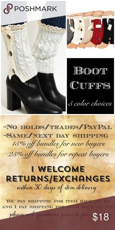 🚨1 DAY SALE🚨 Boot cuffs 5 colors 🎀BUNDLE AND SAVE WITH OVER 100 STYLES TO CHOOSE FROM🎀 Adorable boot cuffs. 100% acrylic. Crochet upper trim. 3 button side detail. Available in 5 colors. Grey, Ivory, Beige, Red or Black. Price is for each, select color using feature below. CupofTea Accessories Hosiery & Socks