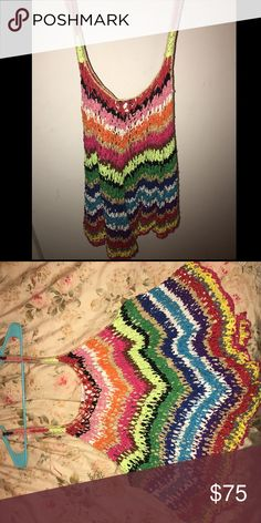 Hand made rainbow tank top from National Jeans Hand made crochet rainbow tank top Tops Tank Tops