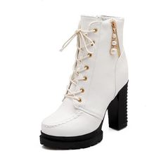 WeiPoot Women's Zipper Pu Round Closed Toe High Heels Solid Boots * Want to know more, click on the image.