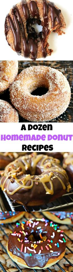 A Dozen Delightful Donuts You Can Make at Home - Backen - Donut Donut Recipes, Pastry Recipes, Cake Recipes, Dessert Recipes, Mini Desserts, Just Desserts, Delicious Donuts, Delicious Desserts, Yummy Food
