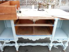 Old sideboard becomes bathroom vanity. My idea of a vanity! Narrow Bathroom Vanities, Dresser Vanity Bathroom, Diy Vanity, Vanity Sink, Bathroom Furniture, Sinks, Repurposed Furniture, Diy Furniture, Furniture Makeover