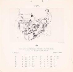 Geillustreerde kalender voor het jaar 1955, uitgegeven door N.V. Koninklijke Nederlandsche Machinefabriek. Voorheen E.H. Begemann, Helmond - Fik Abbing (1948)