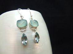 Blue Topaz and Chalcedony Handmade Sterling Silver Earrings by ParadiseJewellery on Etsy