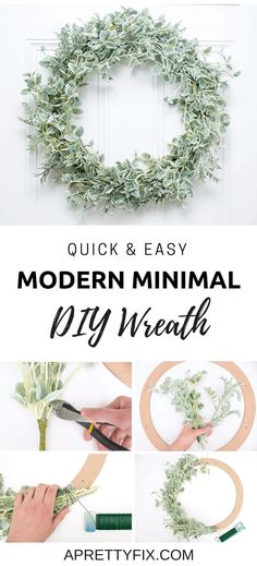 Make this quick and easy, modern minimal DIY wreath in minutes. It's the perfect addition to your front door decor! #wreath #diy #easy #minimal #farmhousestyle