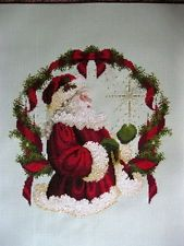 """Completed finished cross stitch """" SPIRIT OF CHRISTMAS """" SANTA.."""