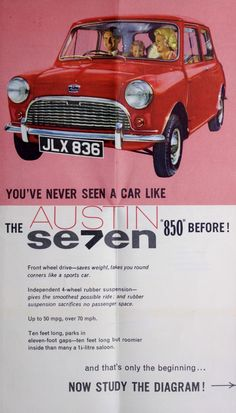 Catalog showing exterior view of the Austin Se7en version of the Mini, ca. 1959-1960
